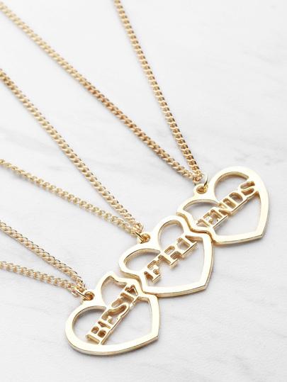 Heart Shaped Friendship Necklace 3pcs