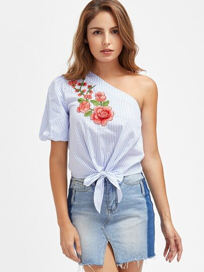 Embroidered Flower Patch Knot Front One Shoulder Striped Top