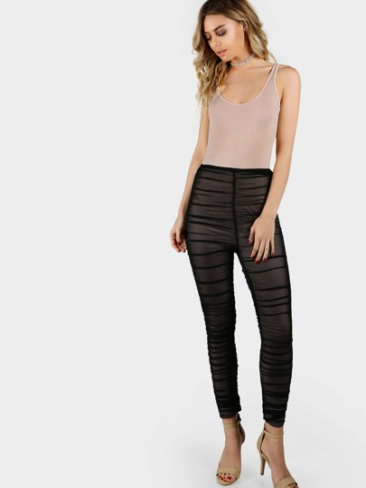 Ruched High Waist Mesh Pants & Bodysuit NUDE