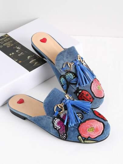 Модные тапочки с вышивкой и бахромой