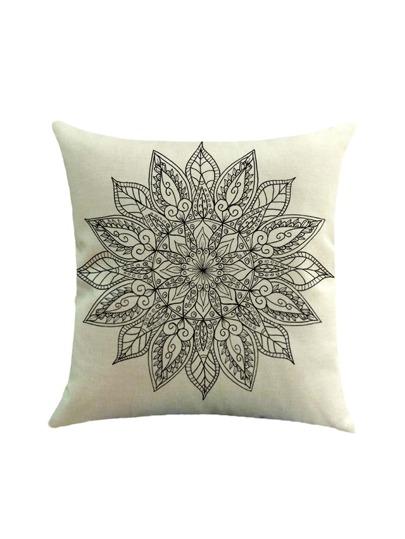 Copertura della federa con stampa di fiore di loto geometrico