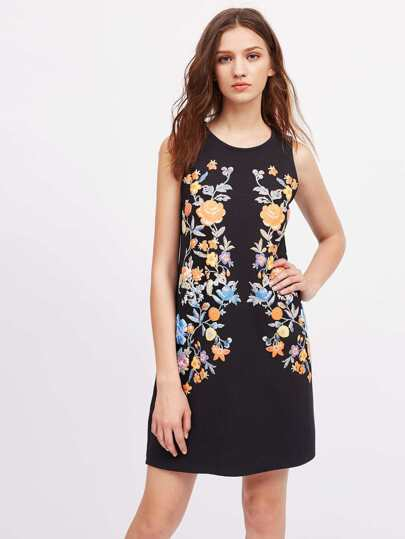 Symmetric Flower Print Sleeveless Dress