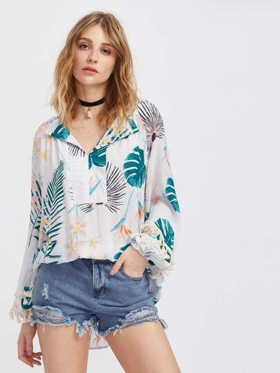 Jungle Print V-neckline Tassel Trim Blouse