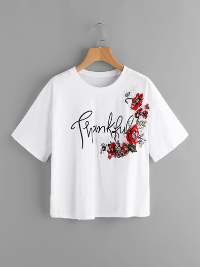 Drop Shoulder Letter Print Embroidered Top