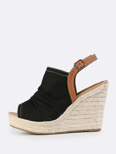 Canvas Ruched Slingback Espadrilles Wedges BLACK