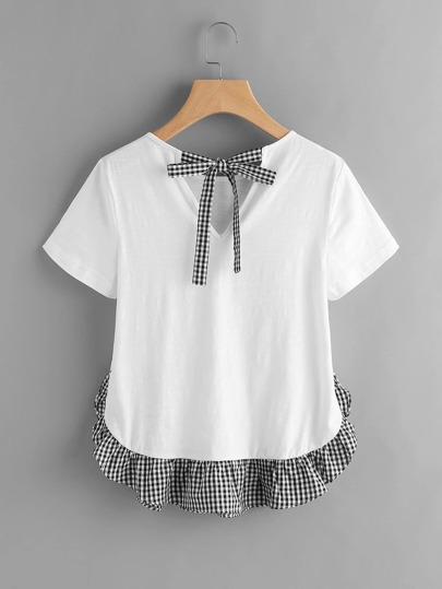 Checkered Bow Back And Ruffle Trim Slub T-shirt