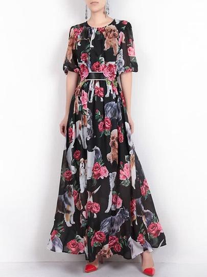 Модное макси платье с цветочным принтом