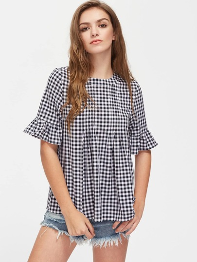 Button Back Fluted Sleeve Double Pleated Checkered Top