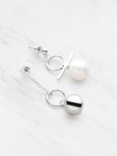 Ball Shaped Asymmetry Drop Earrings