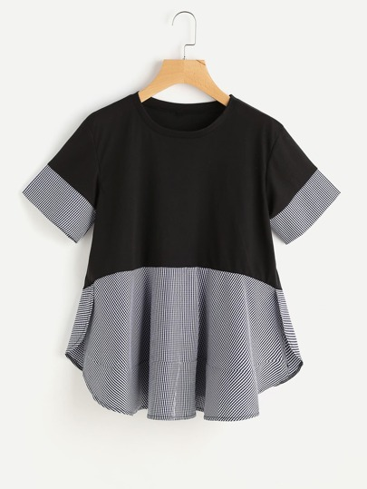 Contrast Gingham Slit Side Curved Hem Tee