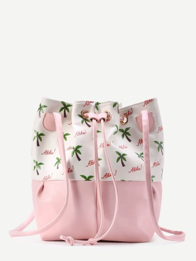 Two Tone Palm And Letter Print Drawstring Bucket Bag