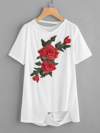 Embroidered Applique Distressed Tee