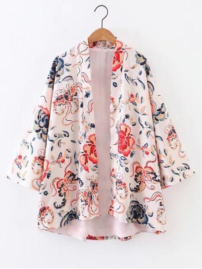Manga de campana manga abierta floral Kimono