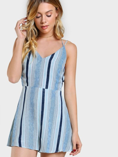 Double Strap Lace Up Flowy Romper BLUE