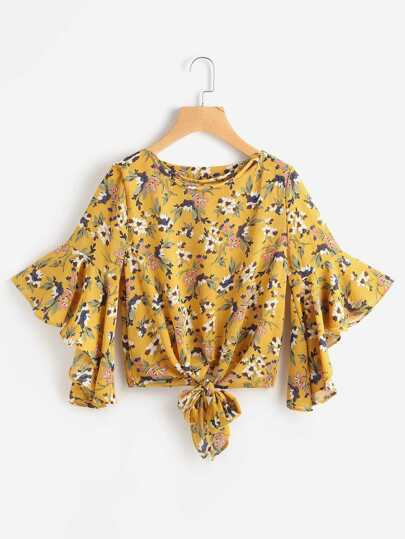 Strappy Neckline Calico Print Bell Sleeve Tie Front Top