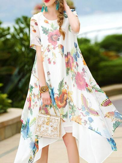 Flowers Print High Low Dress