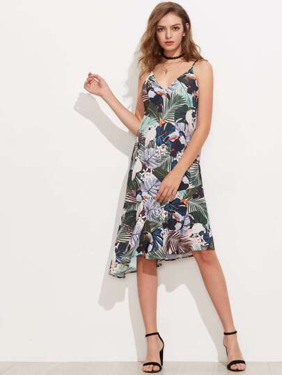 Asymmetric Tiered Hem Tropical Cami Dress