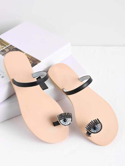 Rhinestone Embellished Toe Ring Flat Sandals