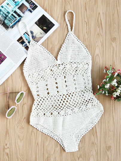 Plunge Neck Hollow Out Crochet Cami Bodysuit
