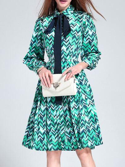 Color Block Bowtie Pleated Dress