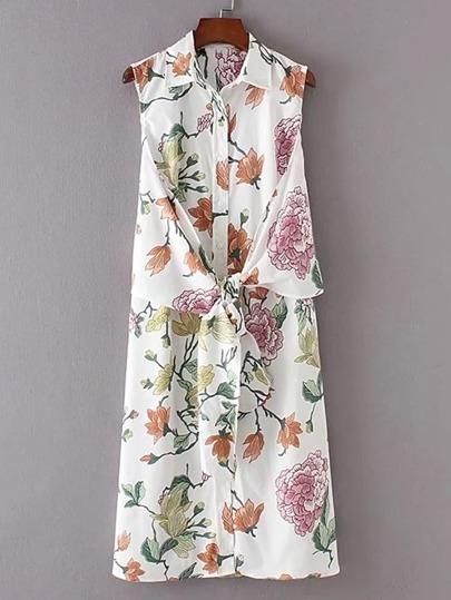 Floral Print Knot Front Shirt Dress
