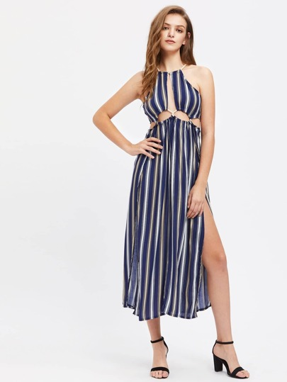 Striped Drawstring Detailed Cut Out Slit Dress
