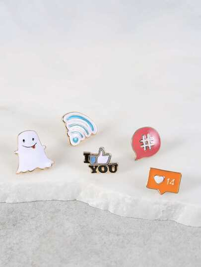 Social Media Brooch Set GOLD MULTI