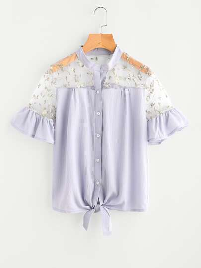 Mesh Insert Embroidered Tie Front Frill Blouse