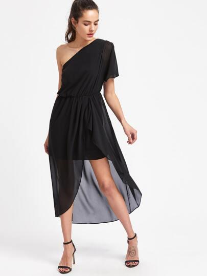 Oblique Shoulder Split Side Asymmetrical Dress