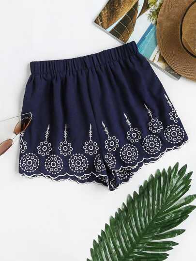 Shorts de bordado con ribete festoneado y cintura elástica