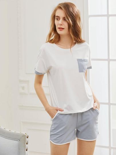 Contrast Trim Tee With Shorts Pajama Set