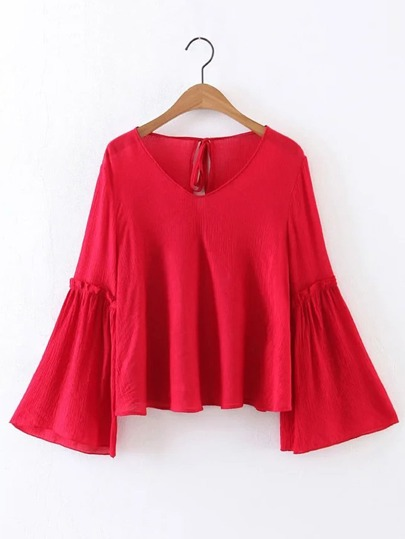 Bell Sleeve Frill Trim Tie Back Top
