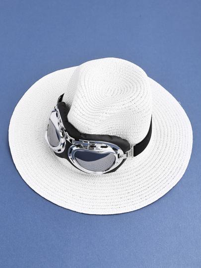Sombrero fedora de paja con adornos de gafas de piloto