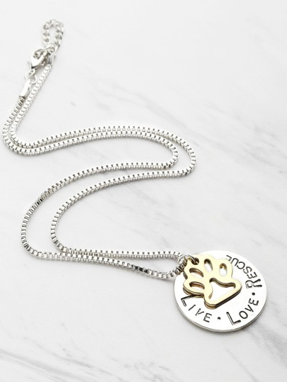 Dog Claw And Letter Design Pendant Necklace