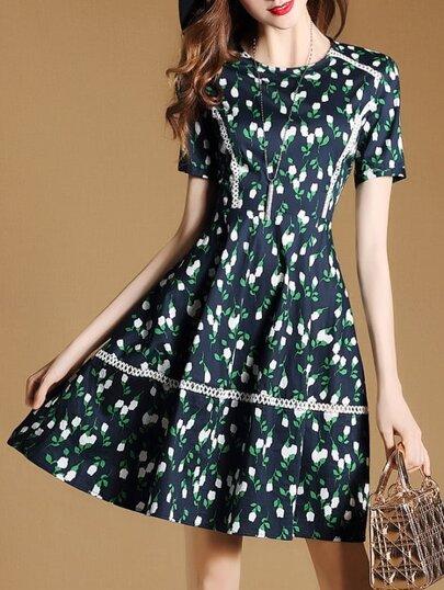 A-Linie Kleid mit Blumen und Netz