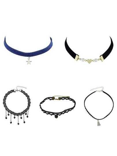 5pcs/Set Rhinestone Pendant Choker Necklaces Set