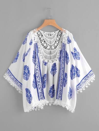 Kimono découpé bicolore imprimé en crochet