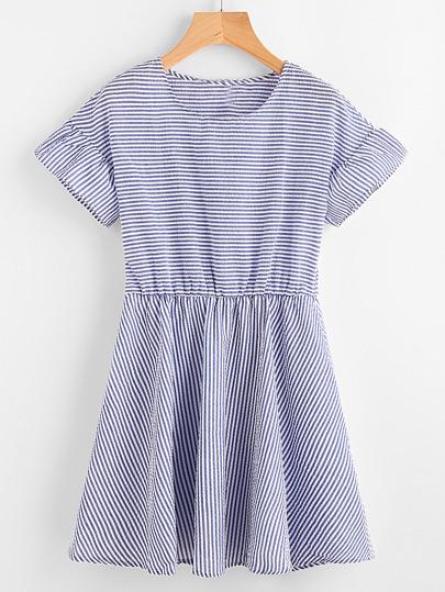 A-Linie Kleid mit Streifen und Blumen