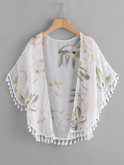 Kimono mousseline découpé imprimé fleuri avec des franges