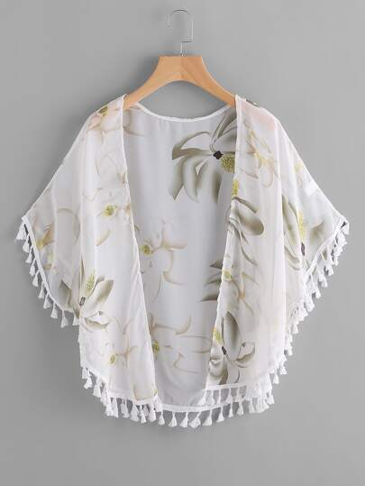 Kimono de chifón con estampado floral