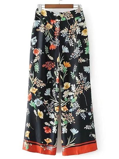 Pantaloni con fondo ampio e stampa floreale