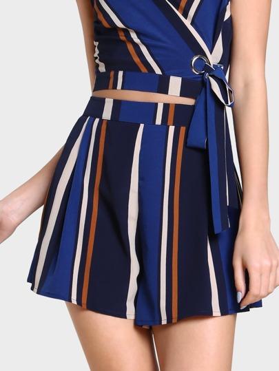 Striped Zip Up Short BLUE MULTI