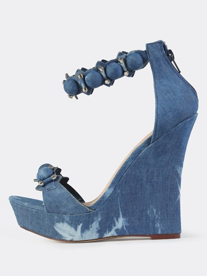 Denim Ankle Strap Wedges DENIM