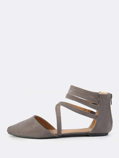 Cross Multi Strap Closed Toe Flats GREY