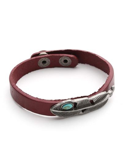 Metall Blatt Wickel Armband