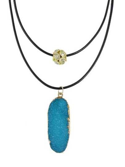 Blue Color Double Layers Resin Stone Pendant Necklaces