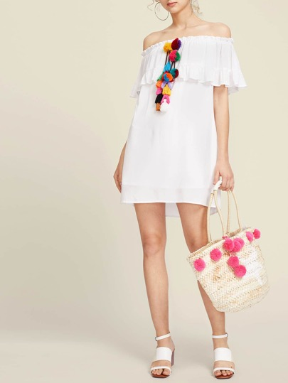 Pom Pom And Tassel Detail Flounce Bardot Dress