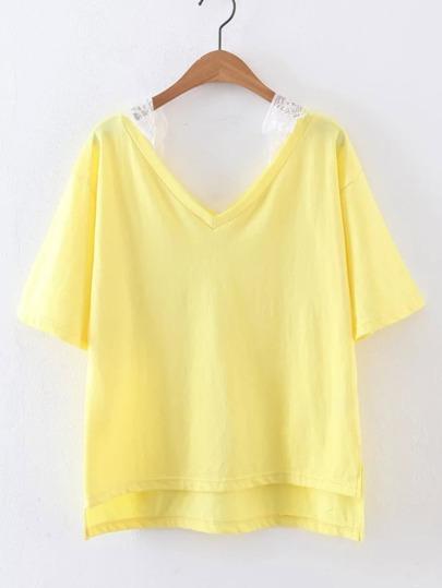 Camiseta asimétrica de encaje con hombros descubiertos