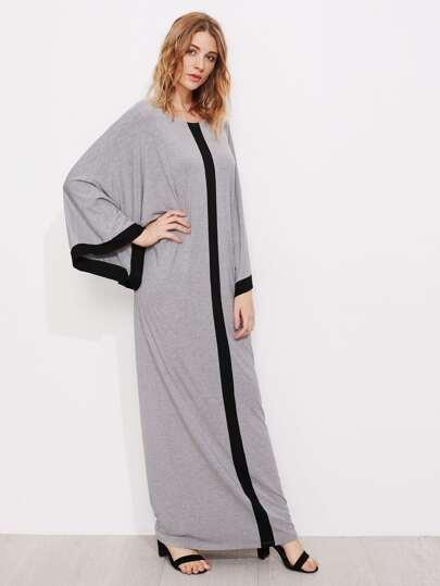 Kimono Sleeve Contrast Panel Heathered Cocoon Dress