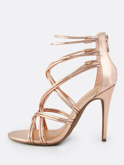 Super Cross Strap Heels ROSE GOLD